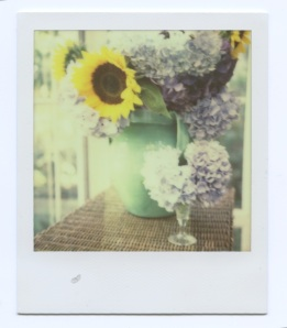 Sunflowers and small vase
